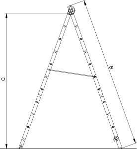 размер трех секционной лестницы